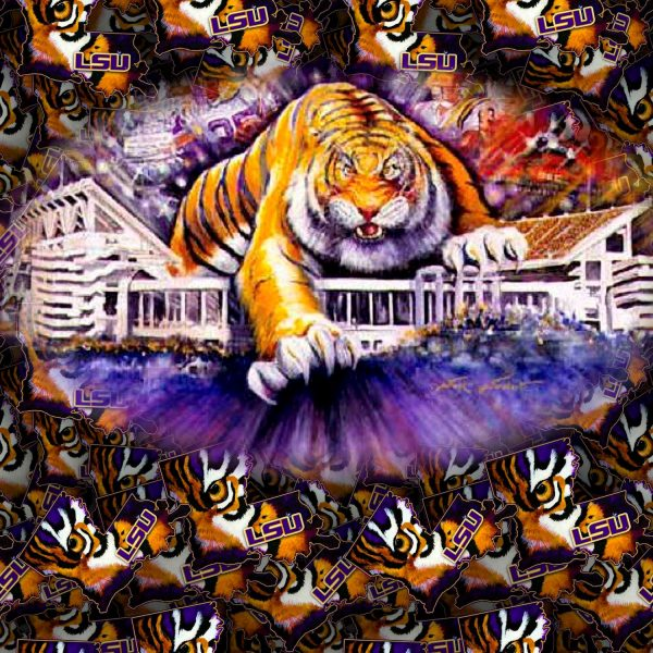 Louisiana State University Tiger on Stadium 11x16