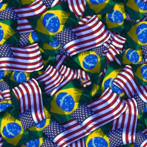 American and Brazil Flags