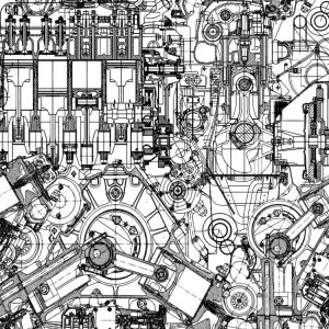 Technical Engine Drawing