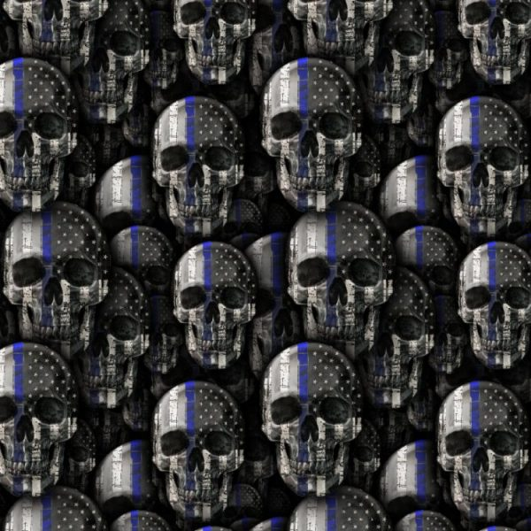 Thin Blue Line Skull 22