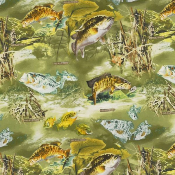 Vintage Real Tree Fish Fabric Camouflage