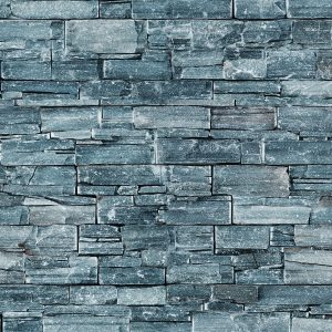 Blue Stacked Stone Wall