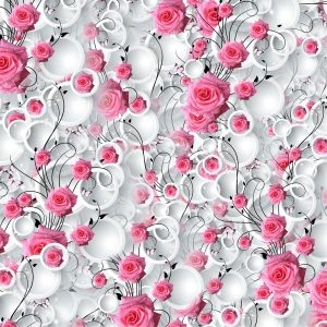 Pink Roses White Circles