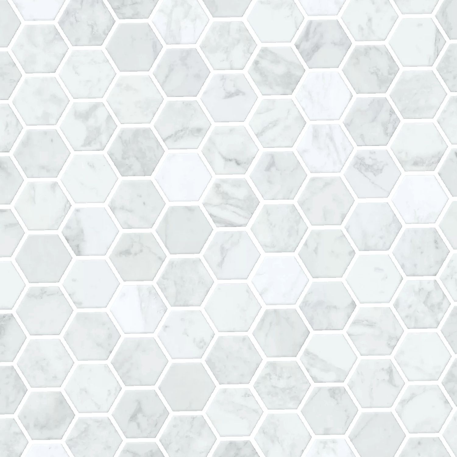Hexagon Marble Tiles with Transparent Grout