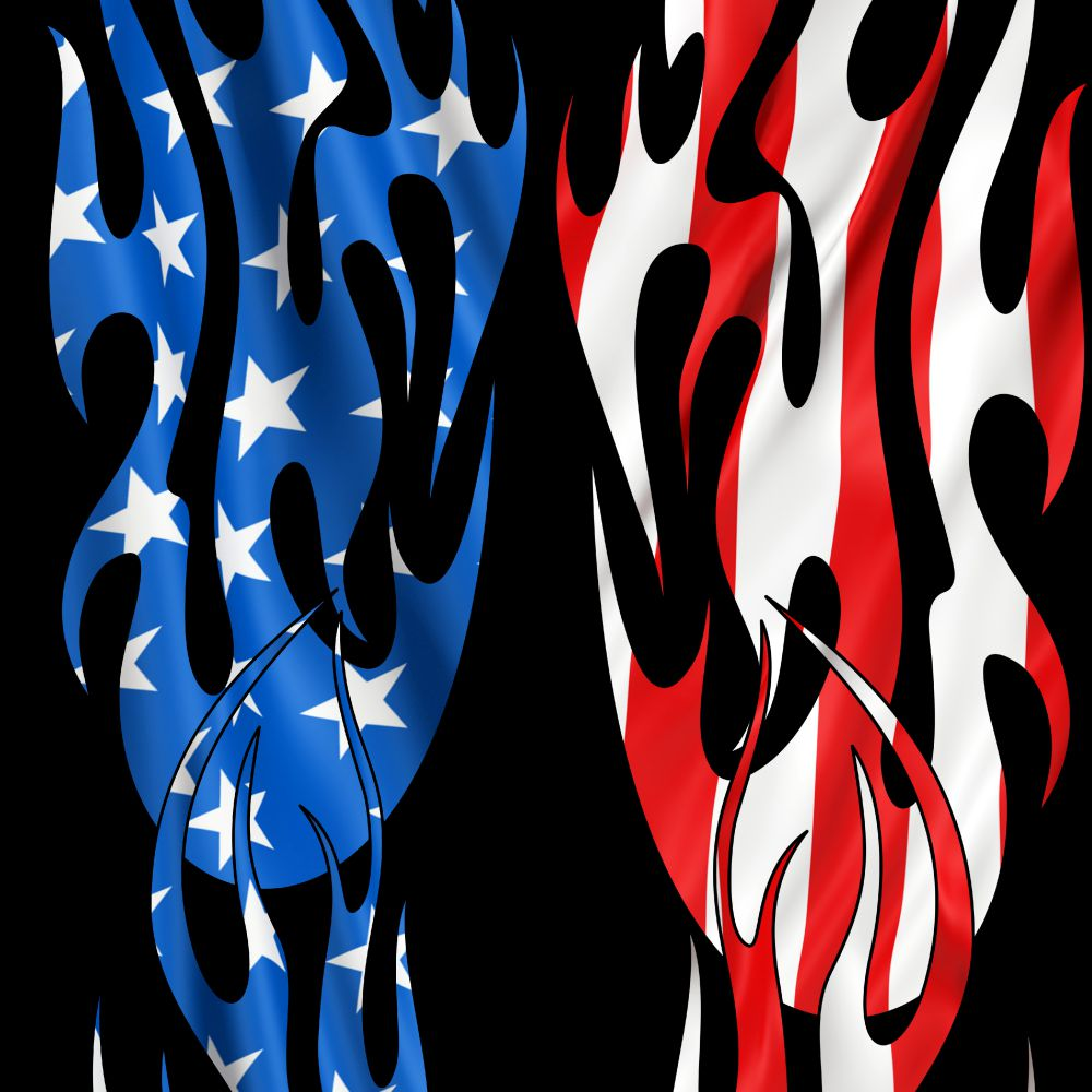 Tribal Flames US Flag 27