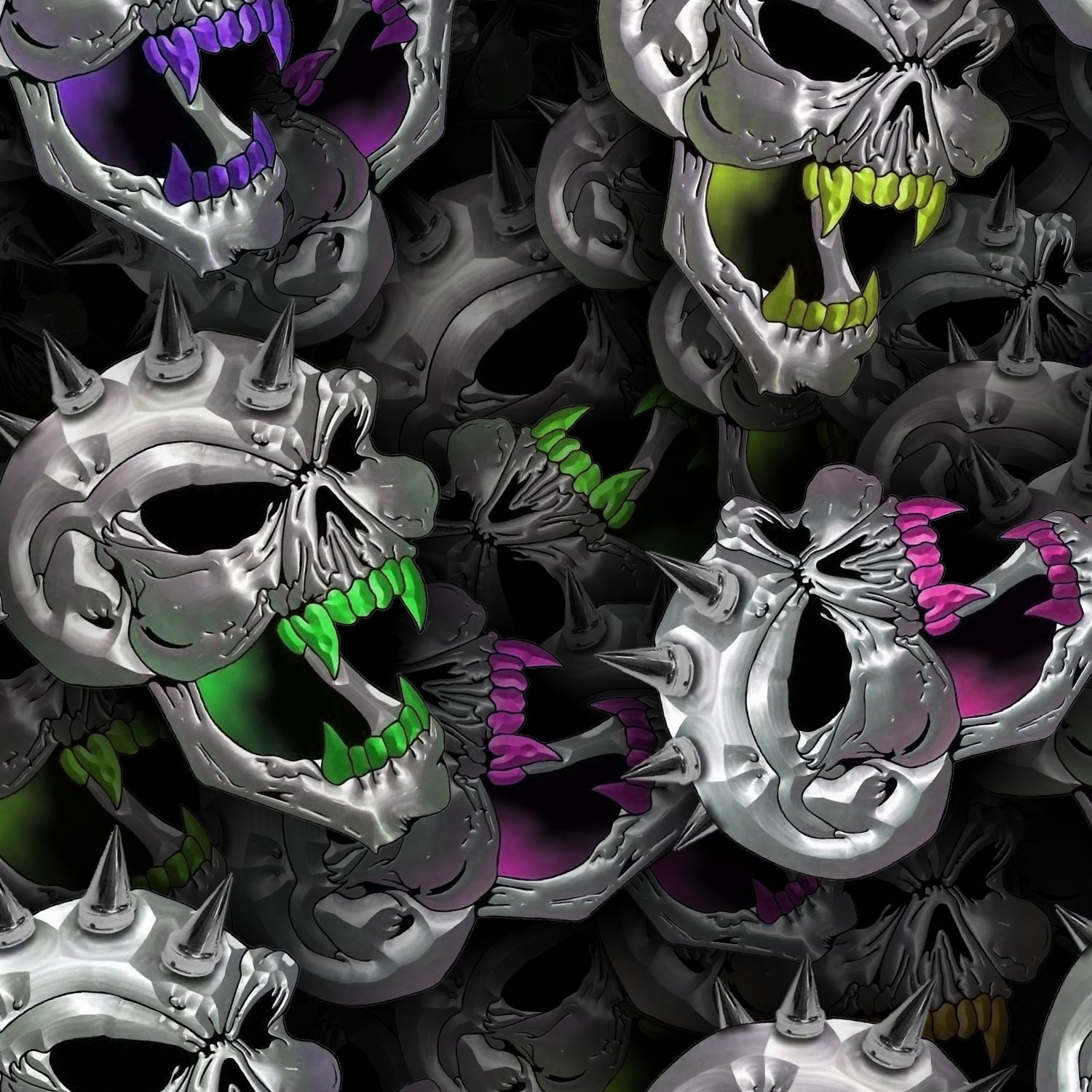 Chrome Spike Skulls 24
