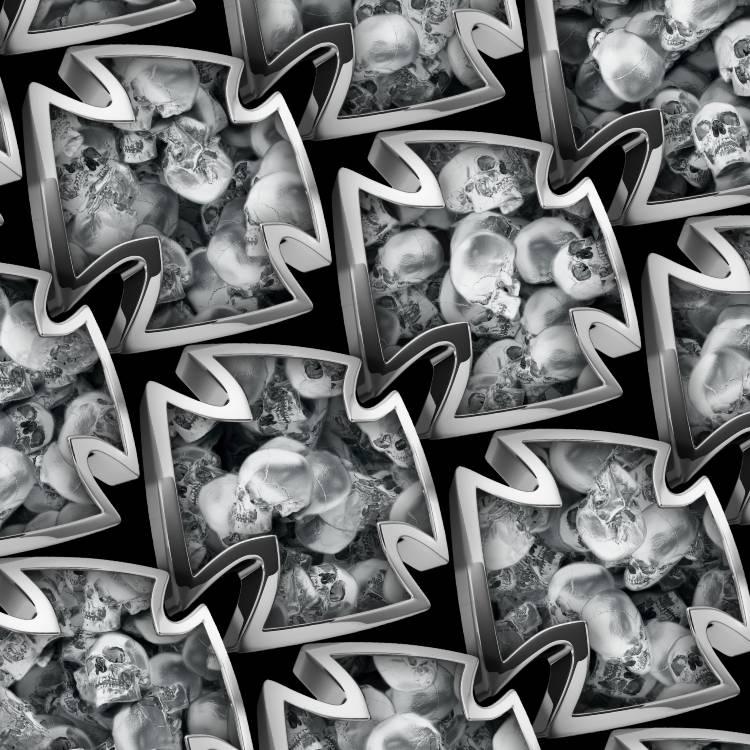 Iron Cross Silver Skulls