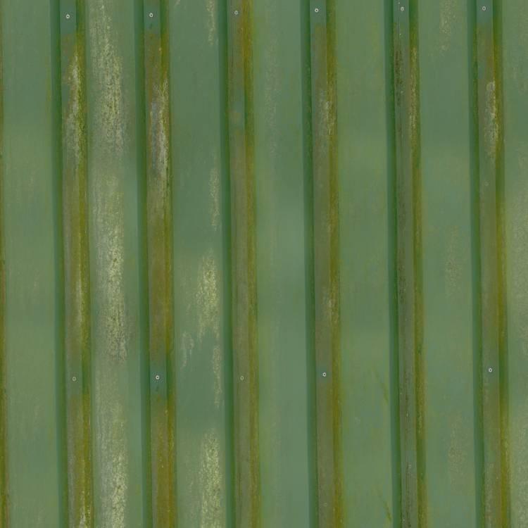 Old Green Metal Siding