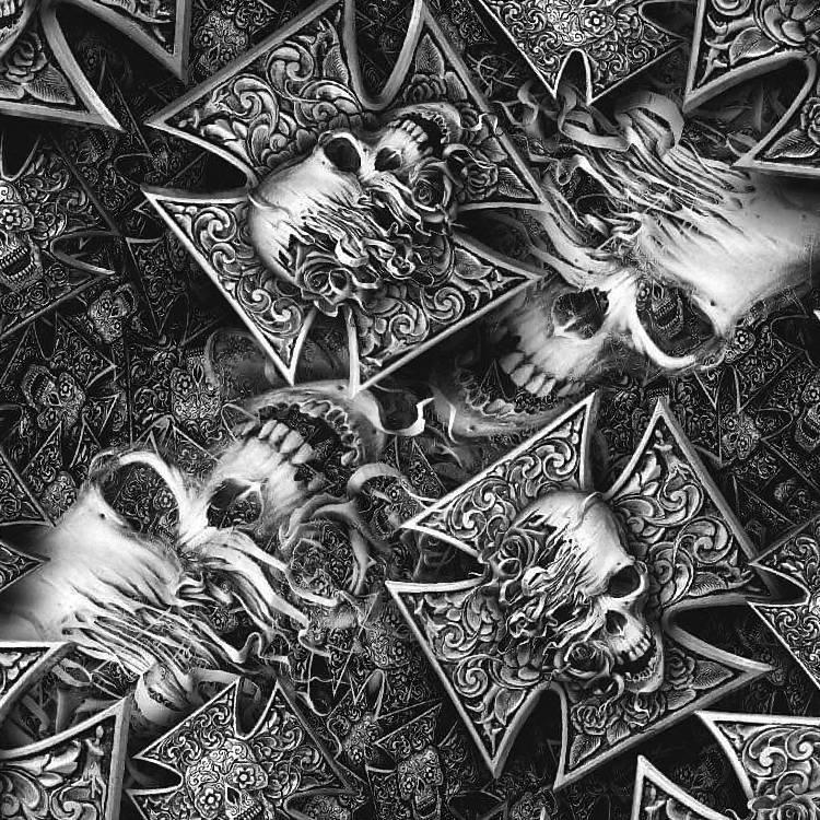 Shredded Skull Iron Cross