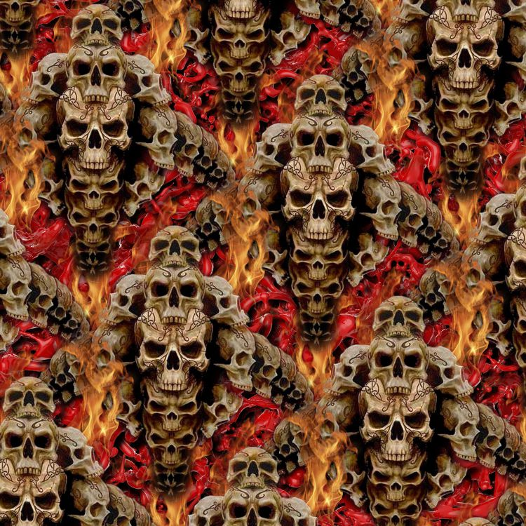 Stacked Skulls and Flames 23