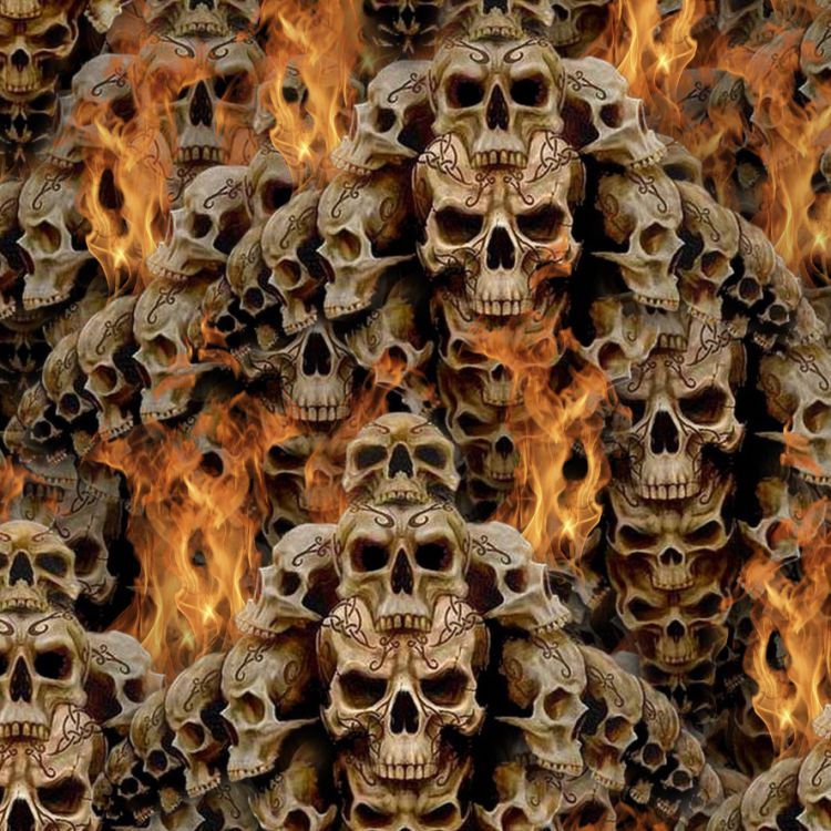Stacked Skulls and Flames