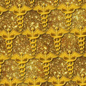 Medical Gold Caduceus Glitter